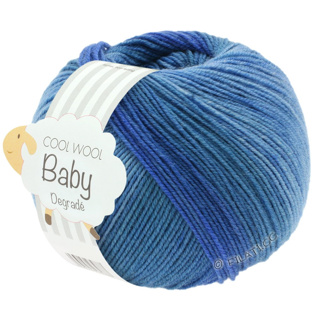 COOL WOOL Baby Uni/Degradé - von Lana Grossa | 504-Jeans/Mittelblau/Dunkelblau