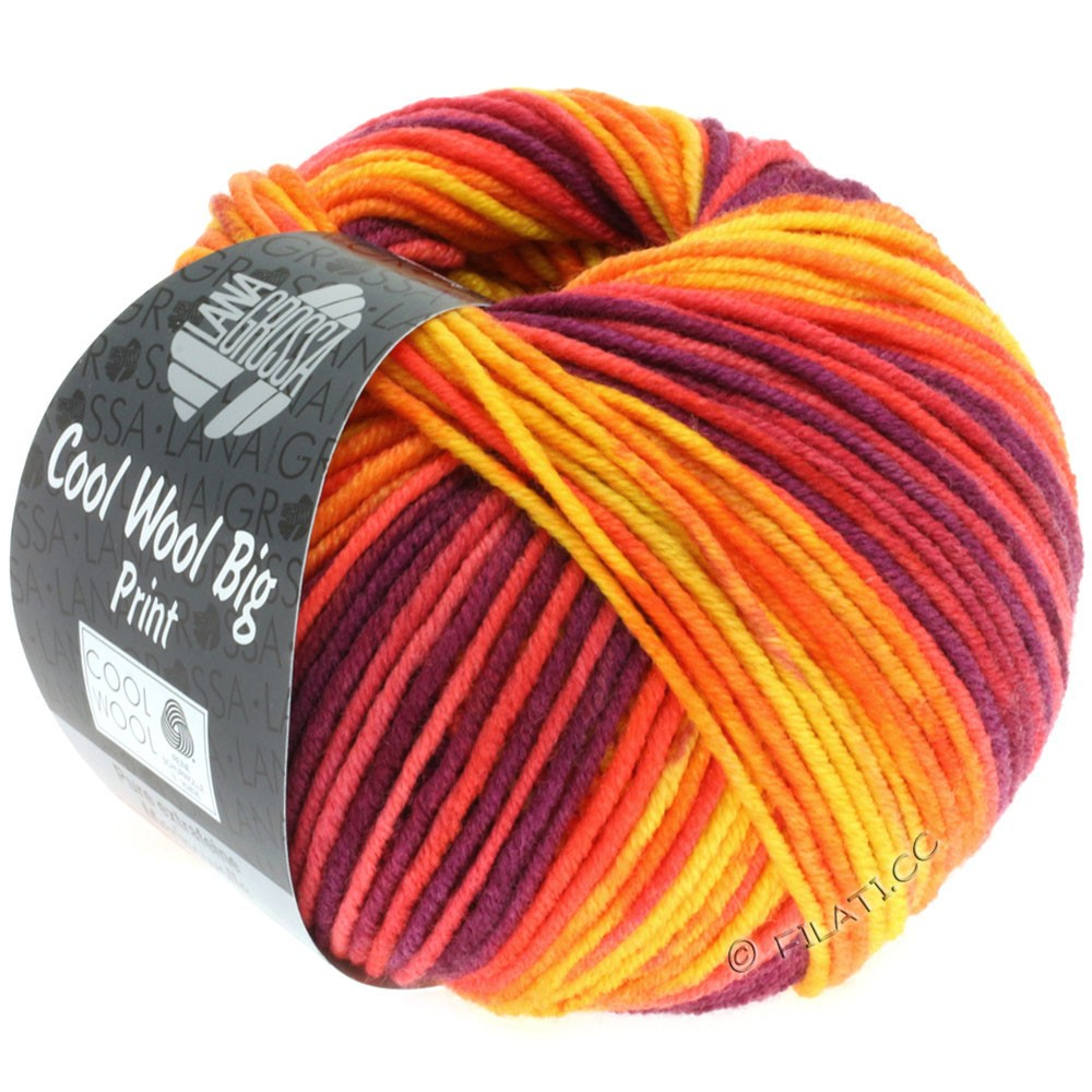 COOL WOOL Big Uni/Melange/Print - von Lana Grossa | 3007-Gelb/Orange/Rot/Rotviolett