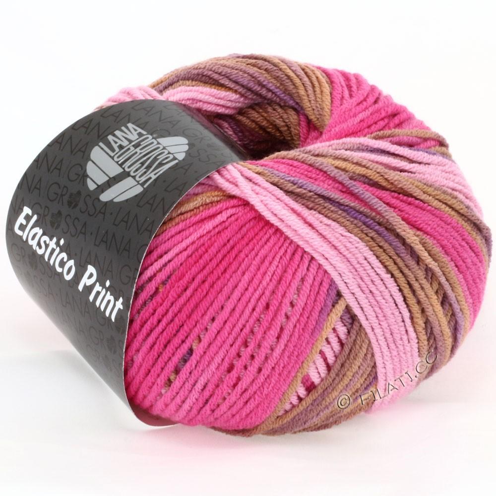 ELASTICO  Uni/Print - von Lana Grossa | 507-Rosa/Pink/Cognac/Violett