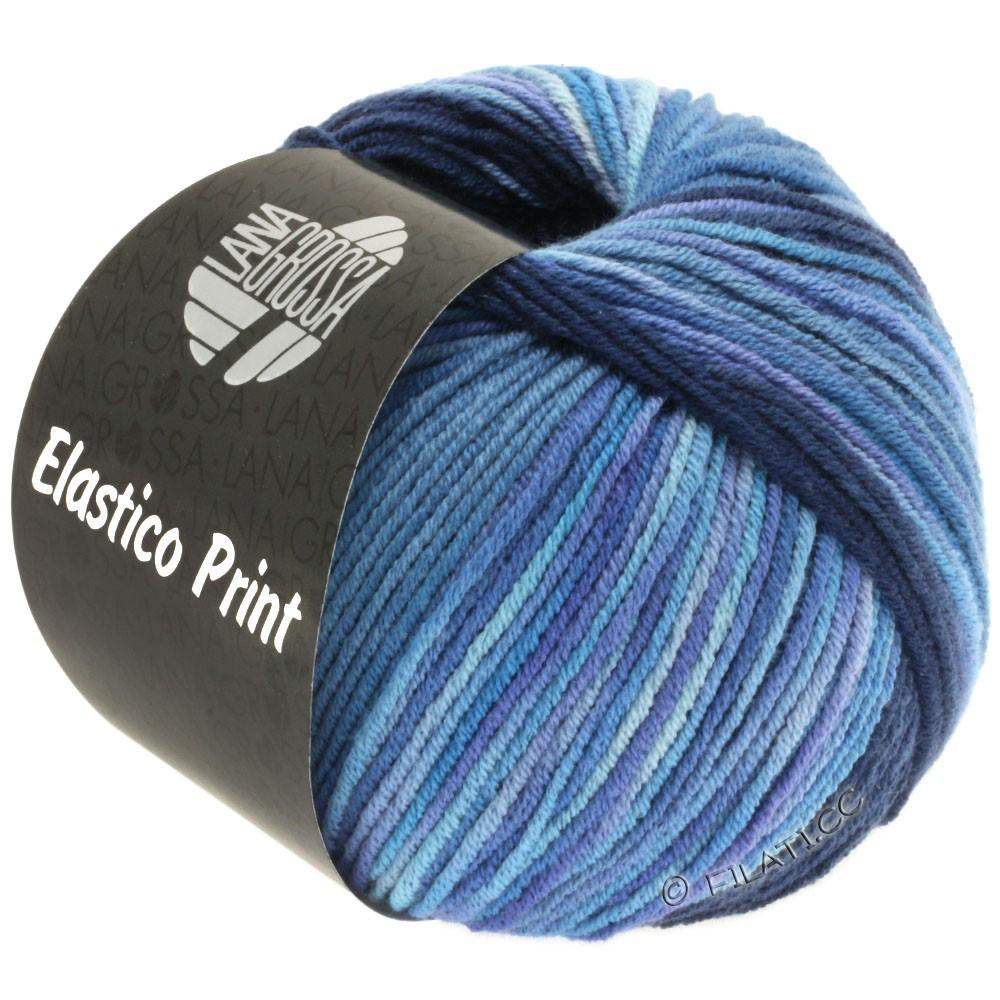 ELASTICO  Uni/Print - von Lana Grossa | 520-Nachtblau/Jeans/Blauviolett/Flieder