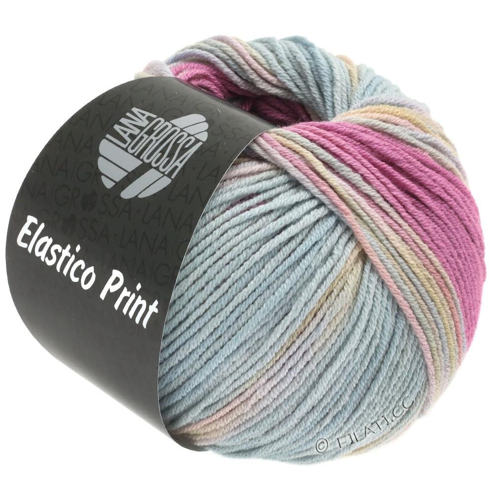 ELASTICO  Uni/Print - von Lana Grossa | 521-Pink/Rosa/Graublau/Gelbgrün