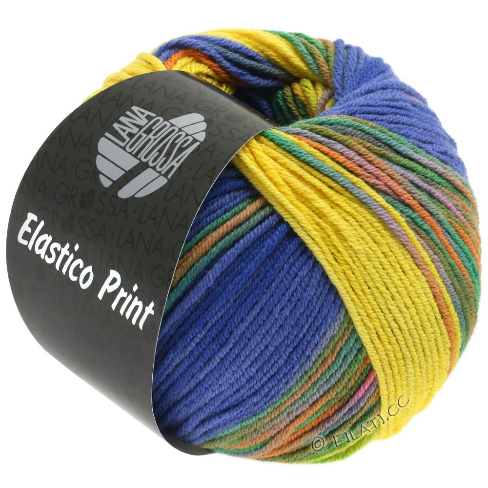ELASTICO  Uni/Print - von Lana Grossa | 523-Gelb/Blauviolett/Nachtblau/Grün/Orange