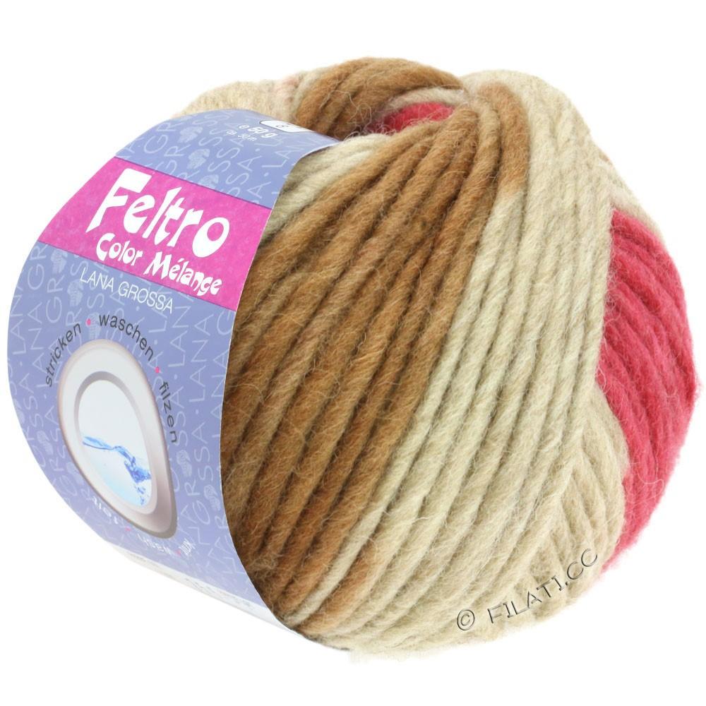 FELTRO Color Melange - von Lana Grossa | 1005-Camel/Himbeer/Rosabeige