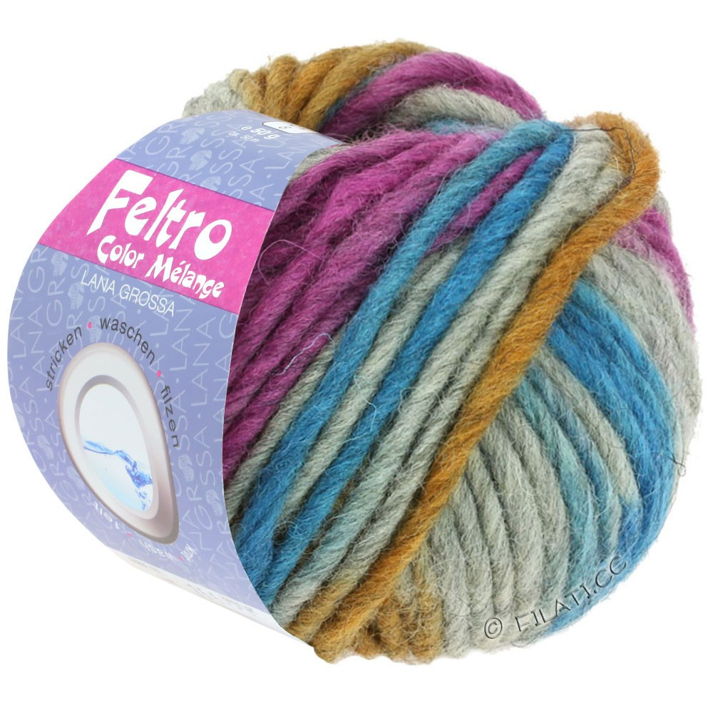 FELTRO Color Melange - von Lana Grossa | 1008-Gelbbraun/Purpur/Petrol/Grau