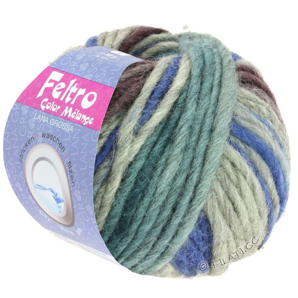 FELTRO Color Melange - von Lana Grossa | 1009-Brombeer/Jeansblau/Grau/Graugrün