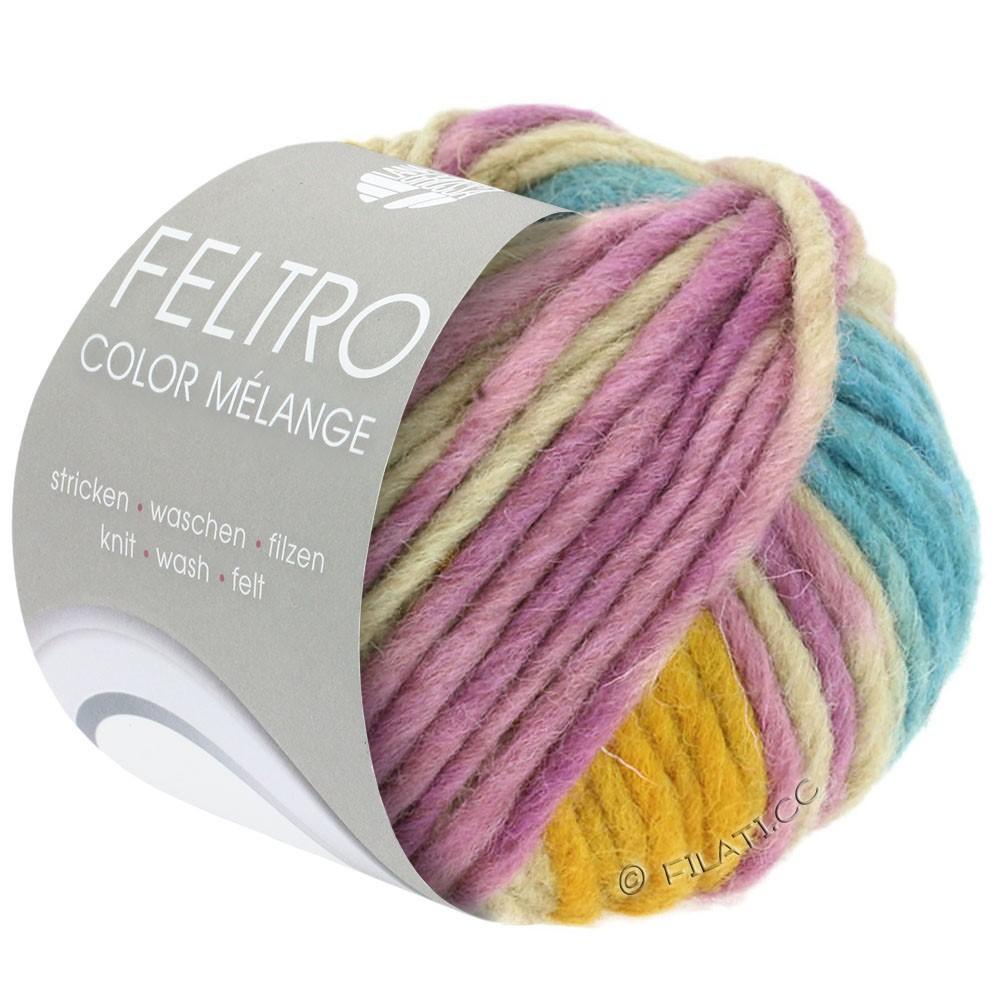 FELTRO Color Melange - von Lana Grossa | 1012-Beige/Lila/Petrol/Honiggelb