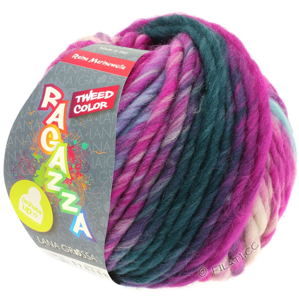 LEI Tweed Color - von Lana Grossa | 401-Hellblau/Hellgrau/Jeans/Zyklam meliert