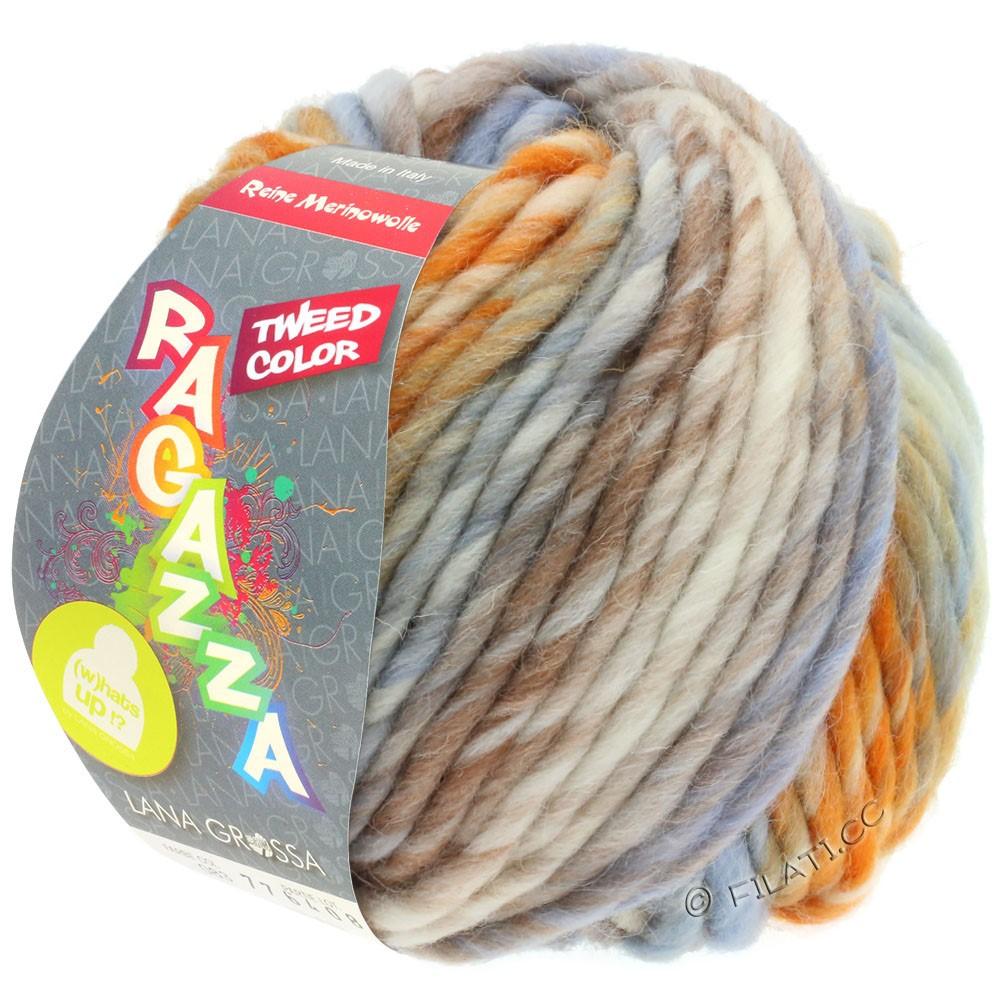 LEI Tweed Color (Ragazza) - von Lana Grossa | 404-Natur/Hellblau/Braun/Orange meliert