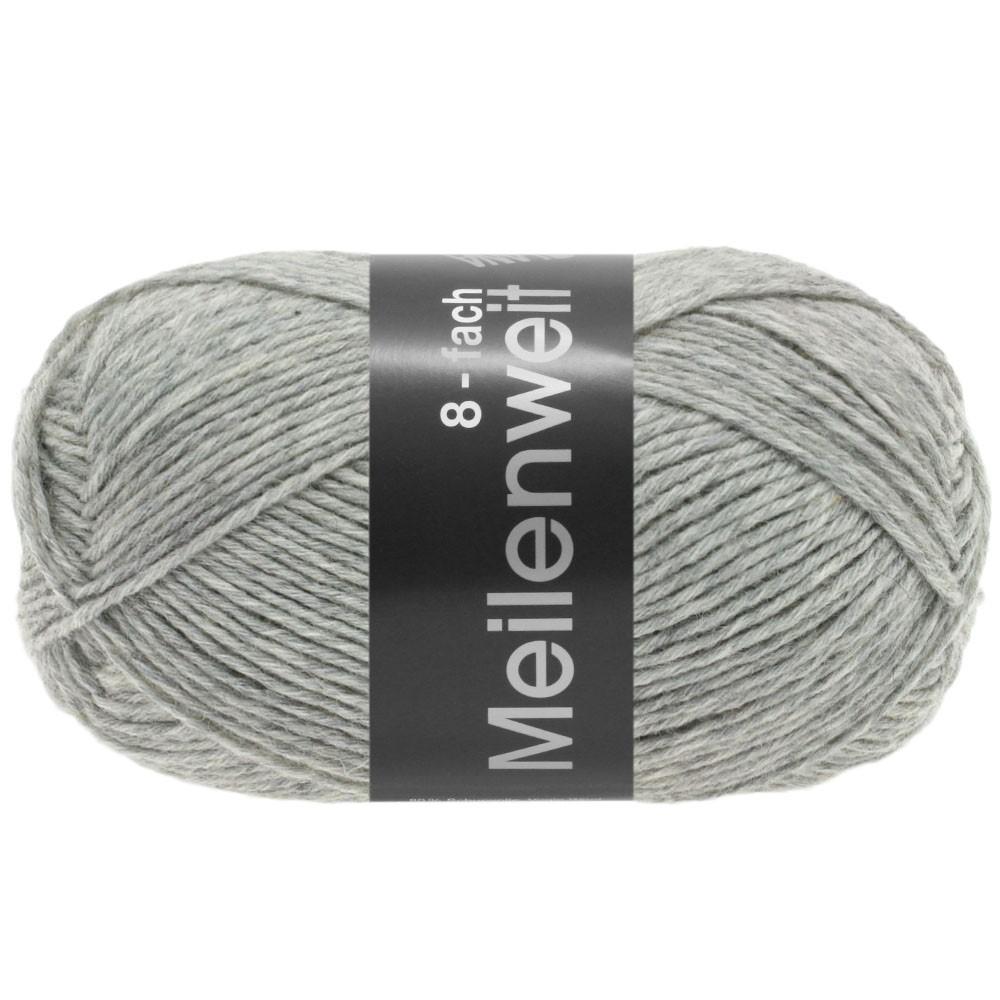 MEILENWEIT 8-FACH 100g Uni - von Lana Grossa | 9564-Hellgrau meliert
