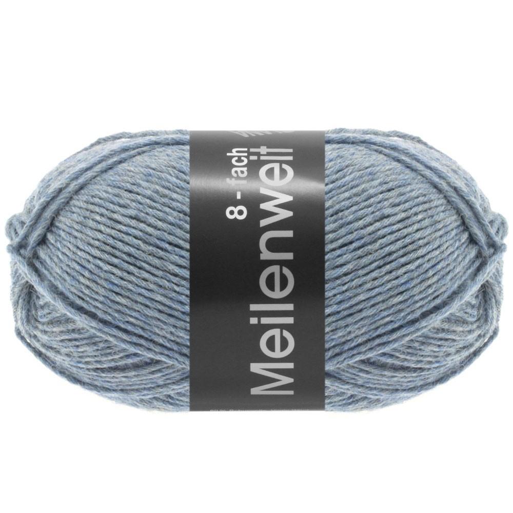 MEILENWEIT 8-FACH 100g Uni - von Lana Grossa | 9659-Graublau meliert