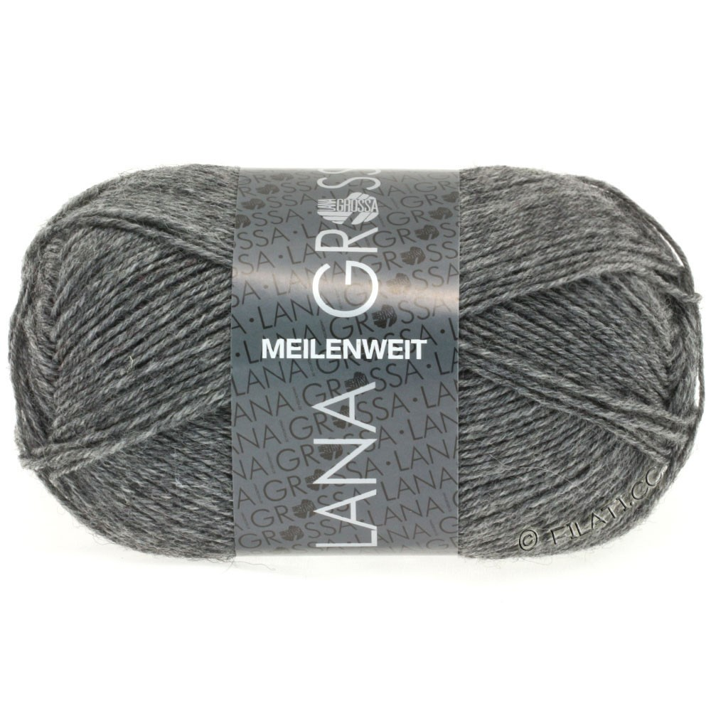 MEILENWEIT 50g Uni - von Lana Grossa | 1104-Grau meliert