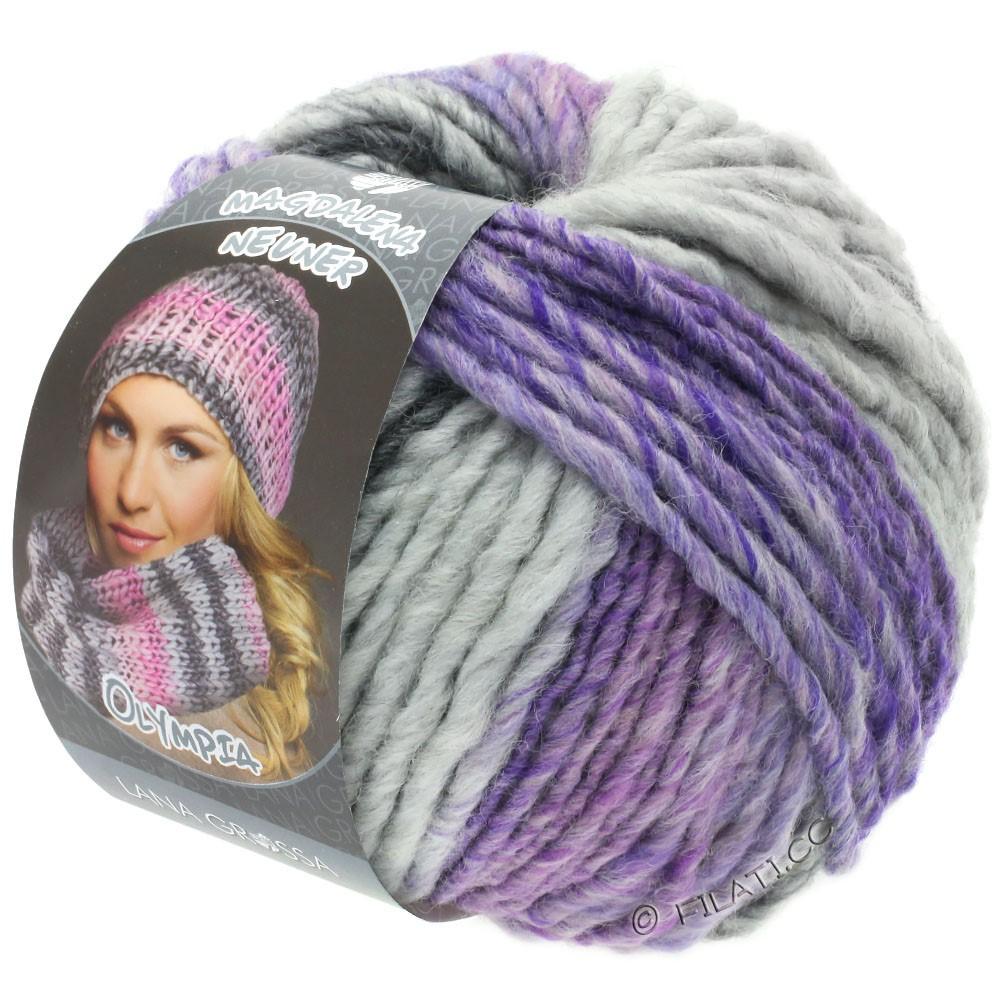 OLYMPIA Grey - von Lana Grossa   804-Dunkelgrau/Hellgrau/Lavendel/Rotviolett