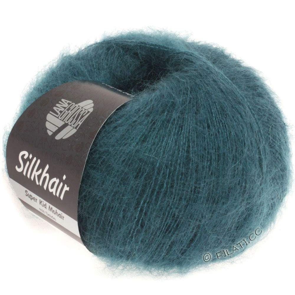 SILKHAIR  Uni/Melange - von Lana Grossa | 083-Dunkles Grünblau
