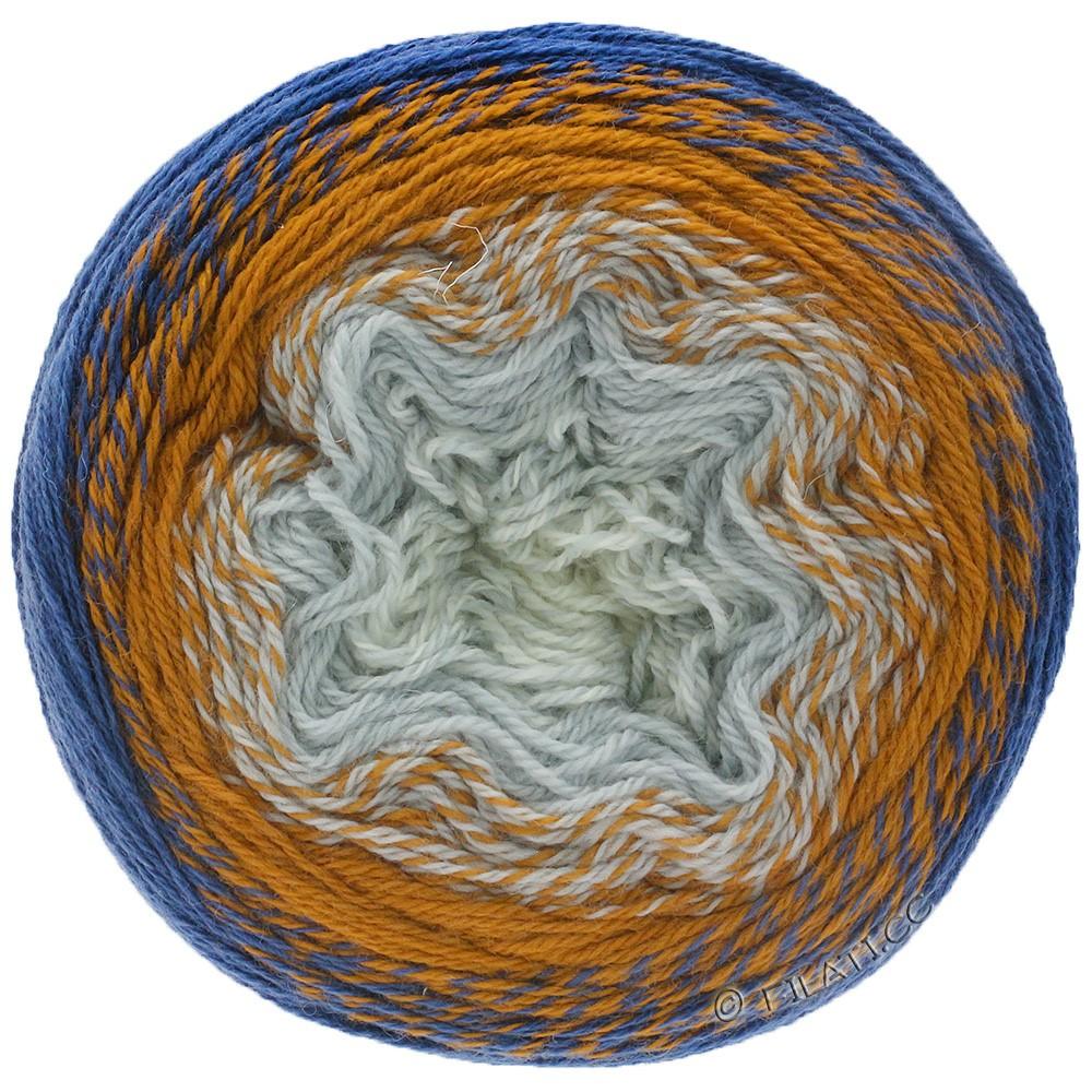 TWISTED CASHMERINO - von Lana Grossa   802-Rohweiß/Bleu/Orangebraun/Petrolblau