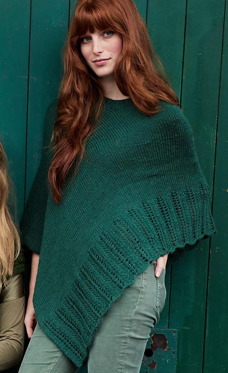 PONCHO MIT LOCHBORDÜRE Cool Wool Alpaca von Lana Grossa