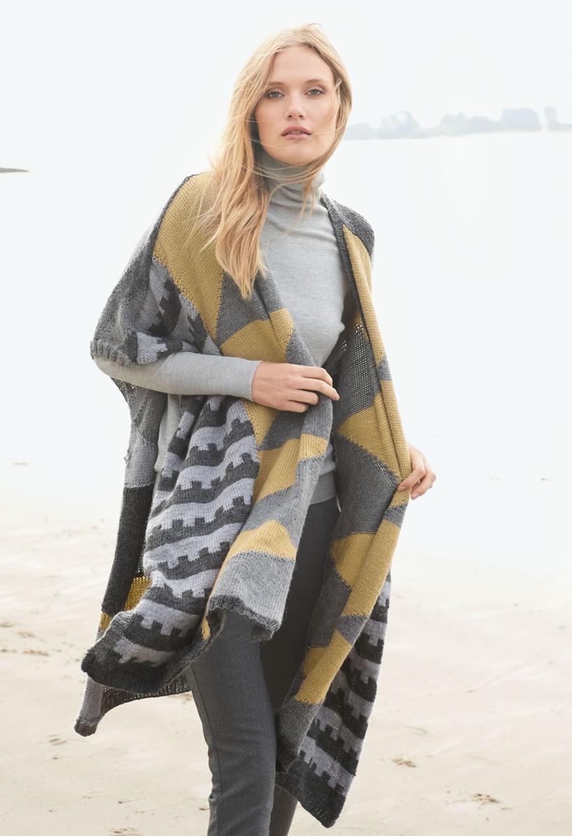 ETHNO-CHIC PONCHO Cool Wool Alpaca von Lana Grossa
