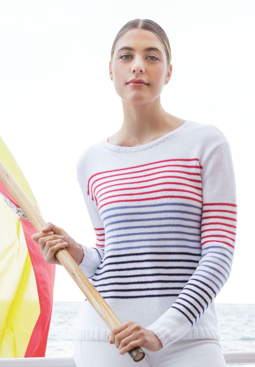 PULLI GLATT RECHTS MIT RINGELN Summer Lace von Lana Grossa