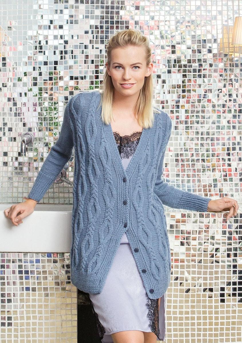 JACKE MIT ZOPF-RAUTENMUSTER UND GLATT RECHTS Cool Wool Alpaca von Lana Grossa