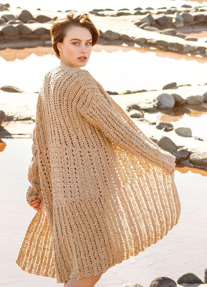 LONGJACKE IM LOCHRIPPENMUSTER Cotton Style von Lana Grossa