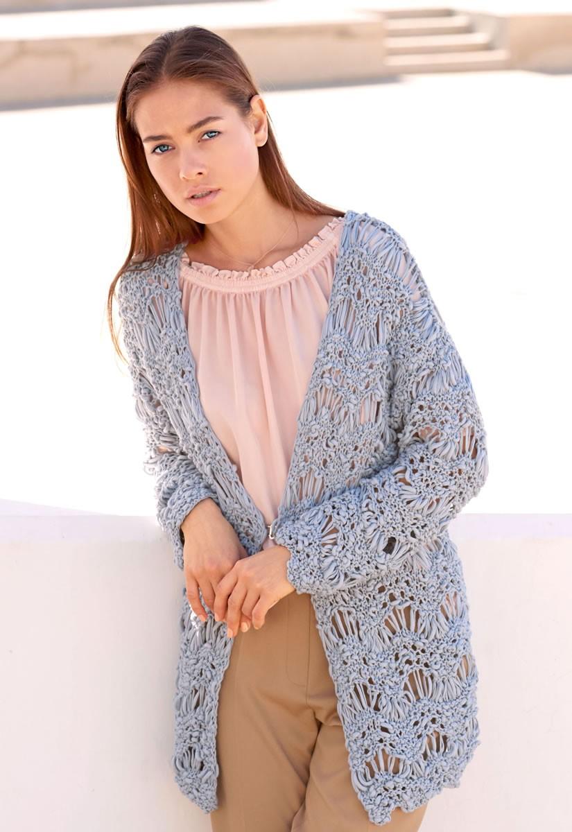 JACKE IM WELLENMUSTER Cotton Style von Lana Grossa