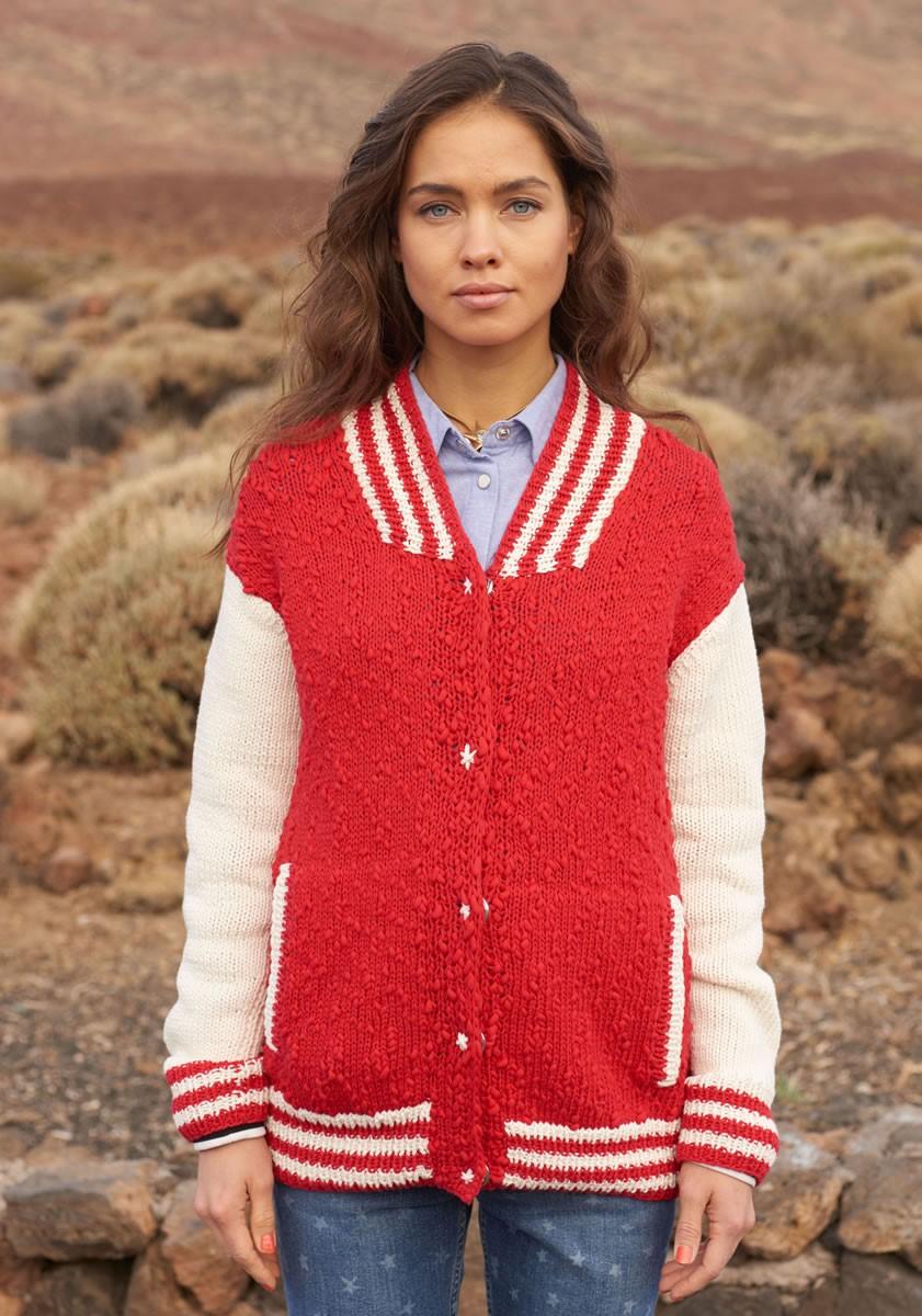JACKE MIT GESTREIFTEN BLENDEN UND TASCHEN Cotton Style/Only Cotton von Lana Grossa