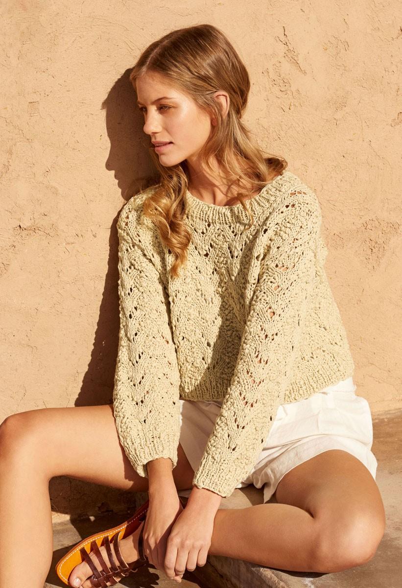 KURZPULLI IM AJOURMUSTER Cotton Style von Lana Grossa