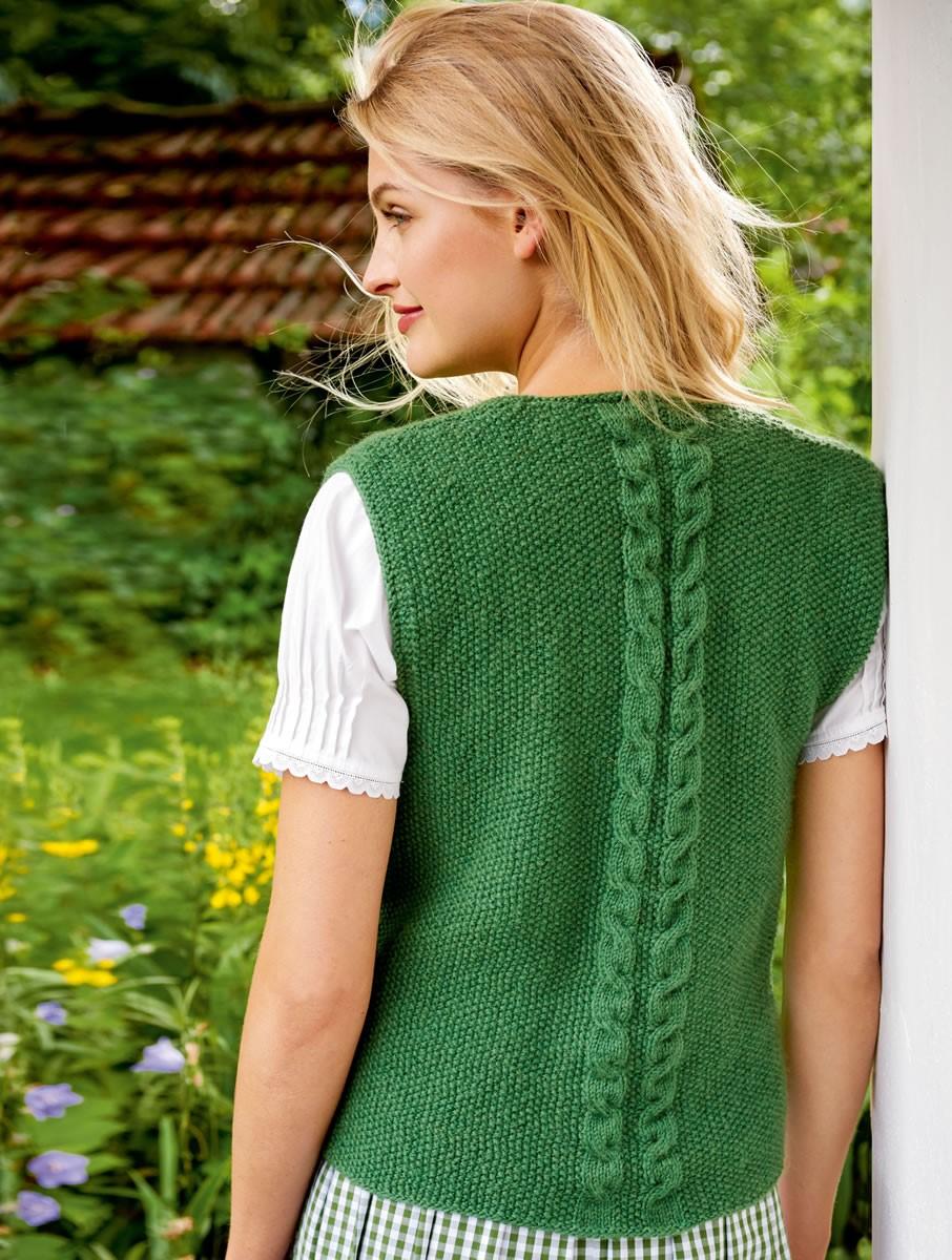 DAMENWESTE IM PERLMUSTER MIT ZOPFSTREIFEN  Cool Wool Big von Lana Grossa