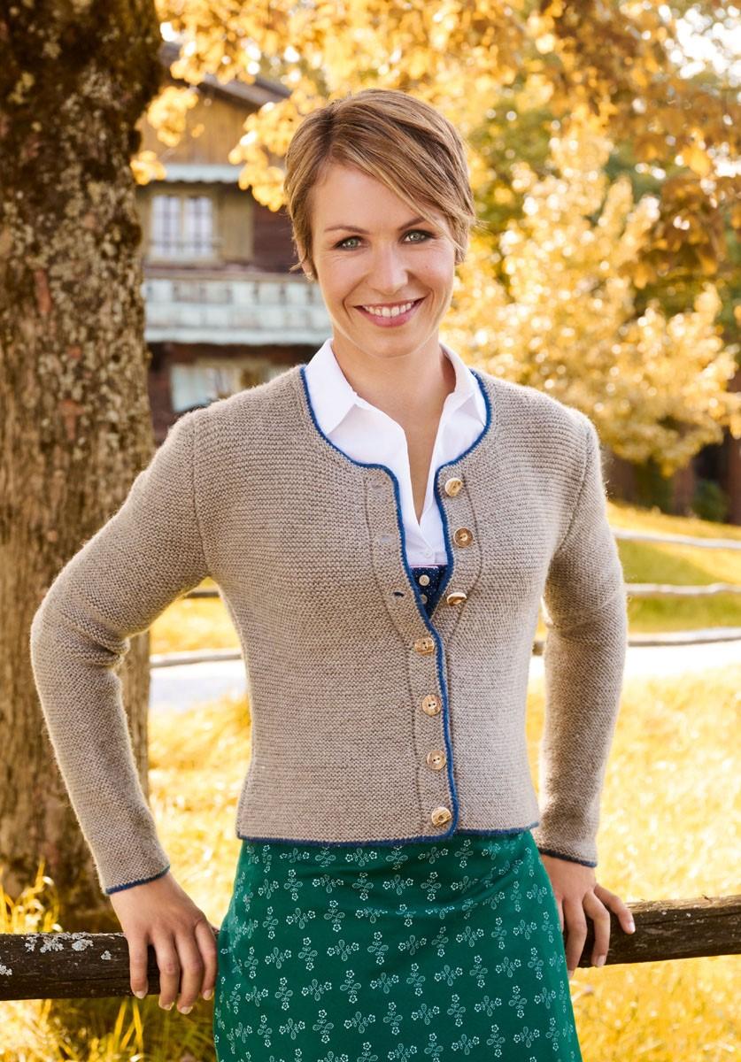 DAMENJACKE MIT DUNKELBLAUER UMRANDUNG Alpina/Cool Wool Big von Lana Grossa