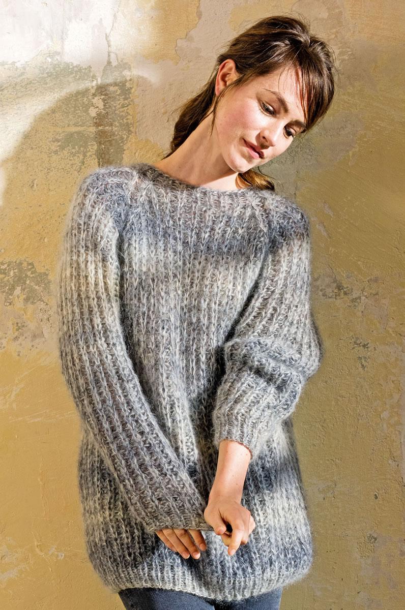halbpatent pullover mit rundem kragen silkhair print mohair booklet modell 10 von lana. Black Bedroom Furniture Sets. Home Design Ideas