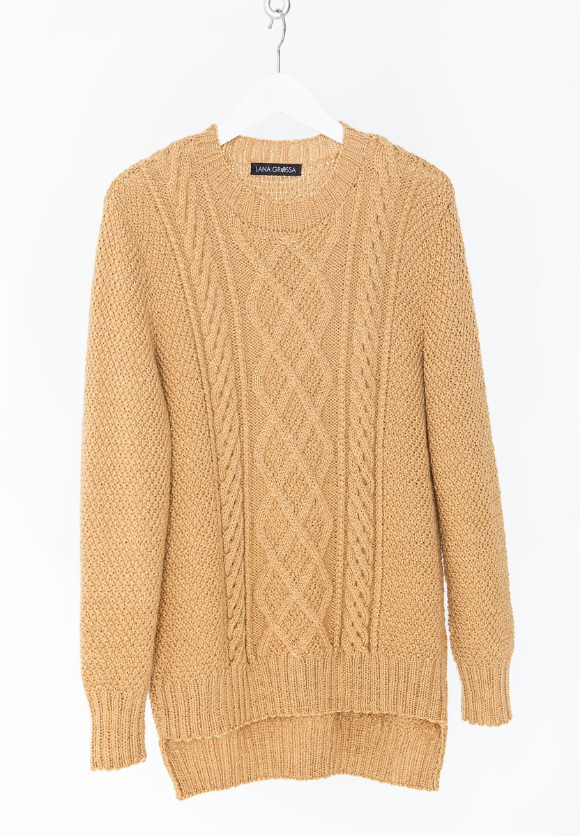 PULLI IM PERLMUSTER MIT ARANMUSTER IM VORDERTEIL Cool Wool Alpaca von Lana Grossa