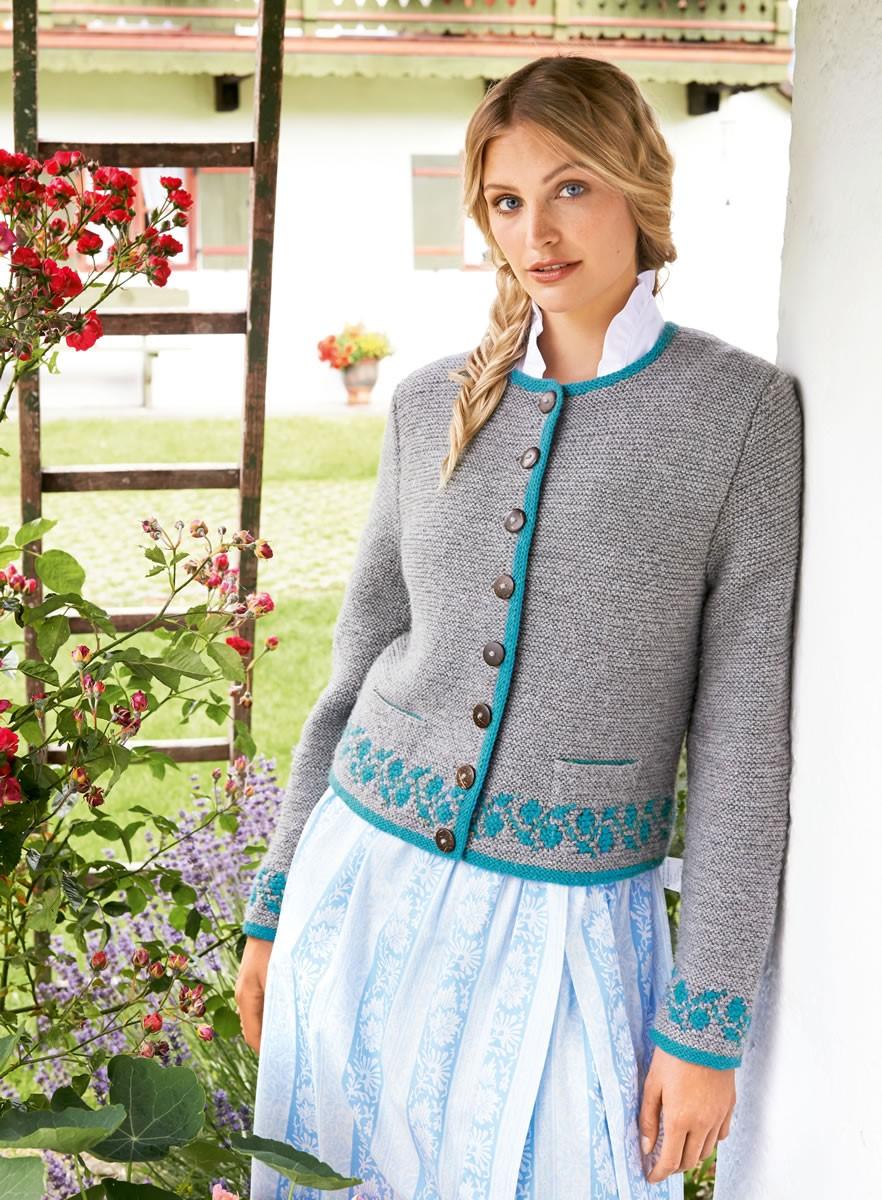 DAMENJANKER MIT BLATTBORDÜREN  Alpina/Cool Wool Big von Lana Grossa