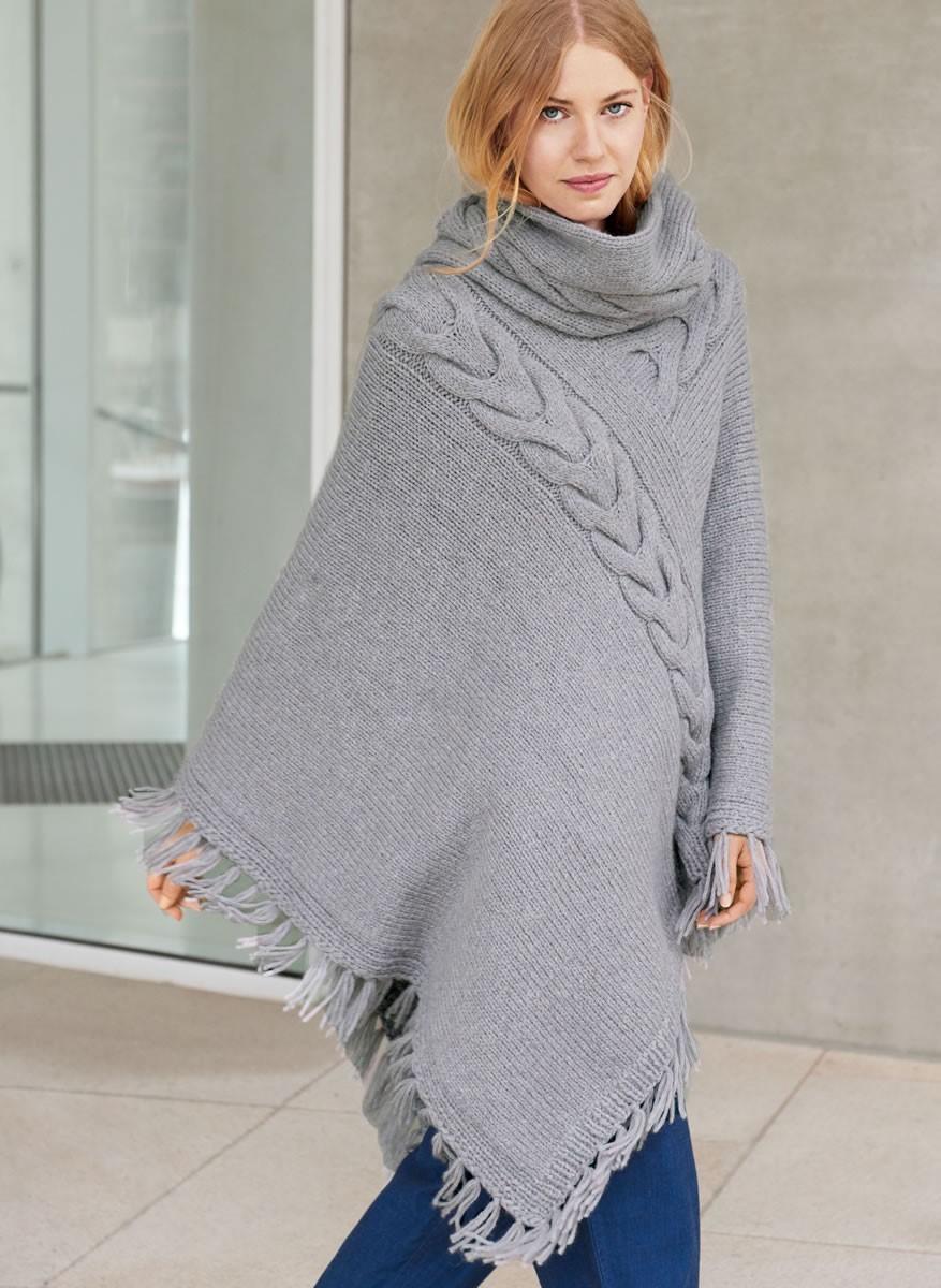 ASYMMETRISCHER ZOPFPONCHO Cool Wool Alpaca von Lana Grossa